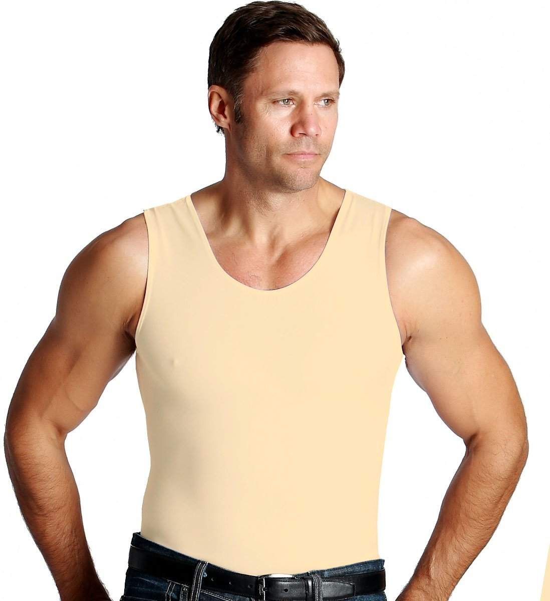 men's white compression muscle tank shirt (medium)