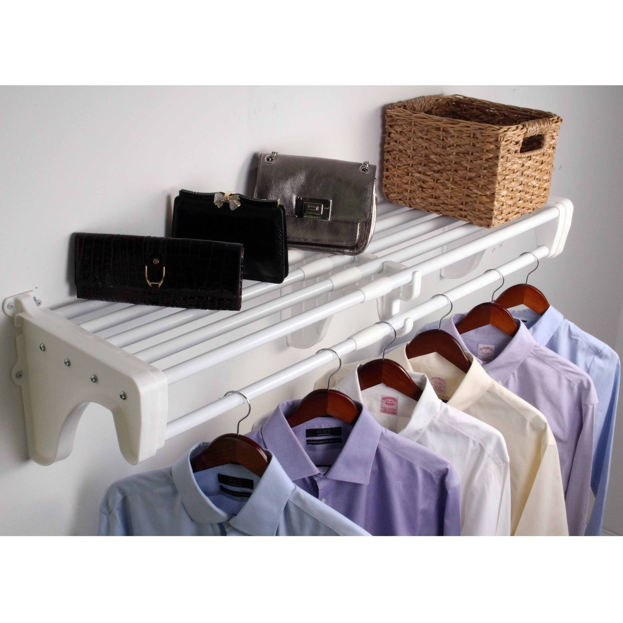 "EZ Shelf 28""-50"" Expandable Closet Shelf and Rod, White, 2 Brackets"