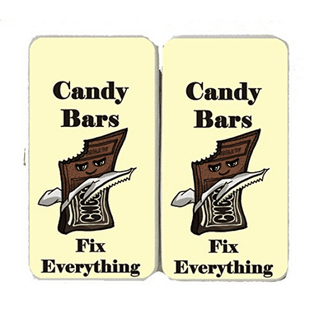 """Candy Bars Fix Everything"" Food Humor Cartoon - Taiga Hinge Wallet Clutch"