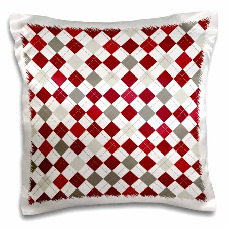 3dRose Red, Burgundy, Gray, and White Large Argyle Pattern, Pillow Case, 16 by - Grey And Burgundy