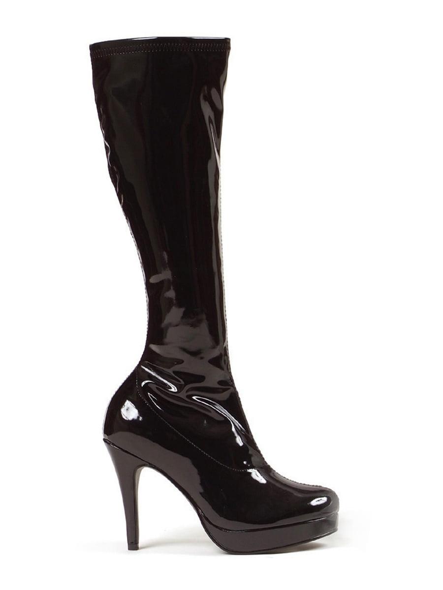 4 Inch High Heel Knee Boot Mini Platform Sexy Costume Footwear Black