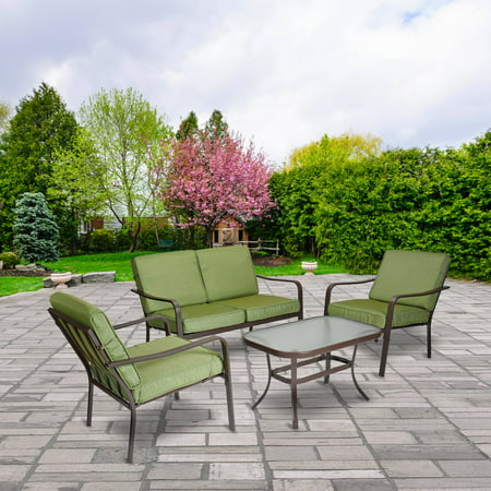 Mainstays Stanton Cushioned 4-Piece Patio Conversation Set, Green ()