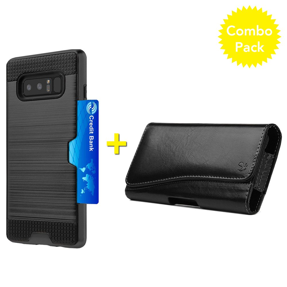 Samsung Galaxy Note 8 Case Leather Horizontal Pouch Combo Pack, Hybrid Card Slot Case with Executive Leather Horizontal Belt Clip Pouch for Samsung Galaxy Note 8 SM-N950U