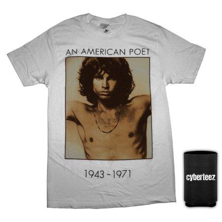 Doors T-Shirt Jim Morrison American Poet White T-Shirt + Coolie (L)
