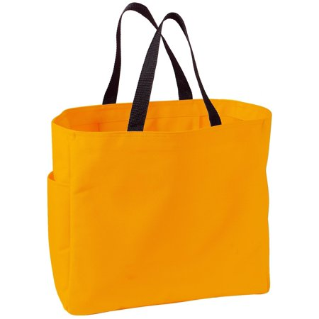 Tangerine Floral Tote (Mafoose Luggage Improved Essential Tote Bag Athletic Gold)