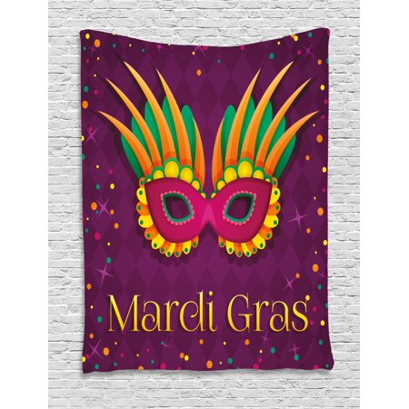 Mardi Gras Tapestry, Festival Mask Design on Purple Backdrop with Stars and Colorful Dots, Wall Hanging for Bedroom Living Room Dorm Decor, 40W X 60L Inches, Purple Orange Green, by Ambesonne (Mardi Gras Backdrop)