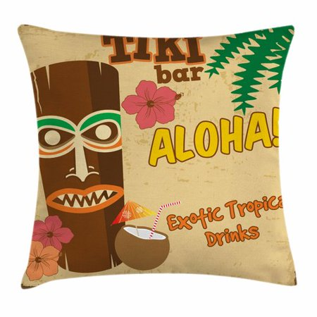Image of Ambesonne Tiki Bar Decor Old Statue Drink Square Pillow Cover