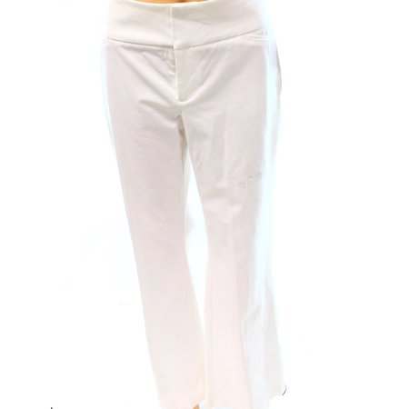 White Womens Pants - INC NEW Bright White Womens Size 14 Wide Leg Flat Front Trouser Pants