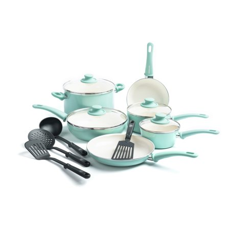 GreenLife Ceramic Non-Stick Cookware Set, 14 (14 Piece Anodized Cookware)