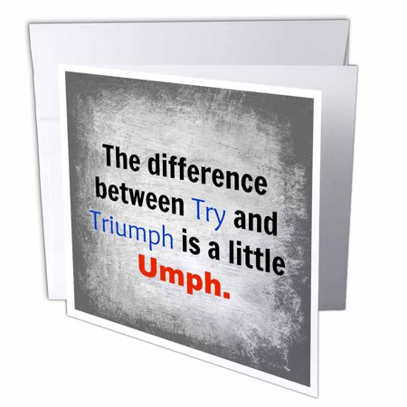3dRose difference between try and triumph, black, blue, and red, letters, Greeting Cards, 6 x 6 inches, set of