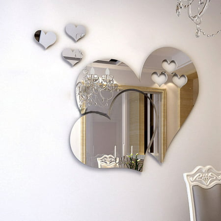 Outgeek 3D Mirror Heart Shaped Wall Decal Stickers Lovely DIY Art Mural Decoration for Bedroom Living Room Bathroom Home - Tmnt Wall Decals