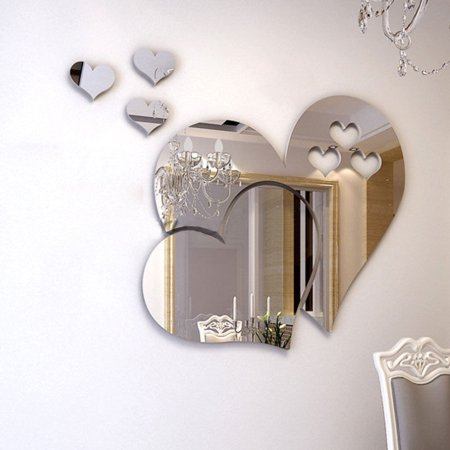 Outgeek 3D Mirror Heart Shaped Wall Decal Stickers Lovely DIY Art Mural Decoration for Bedroom Living Room Bathroom Home Mirror Decal Sticker