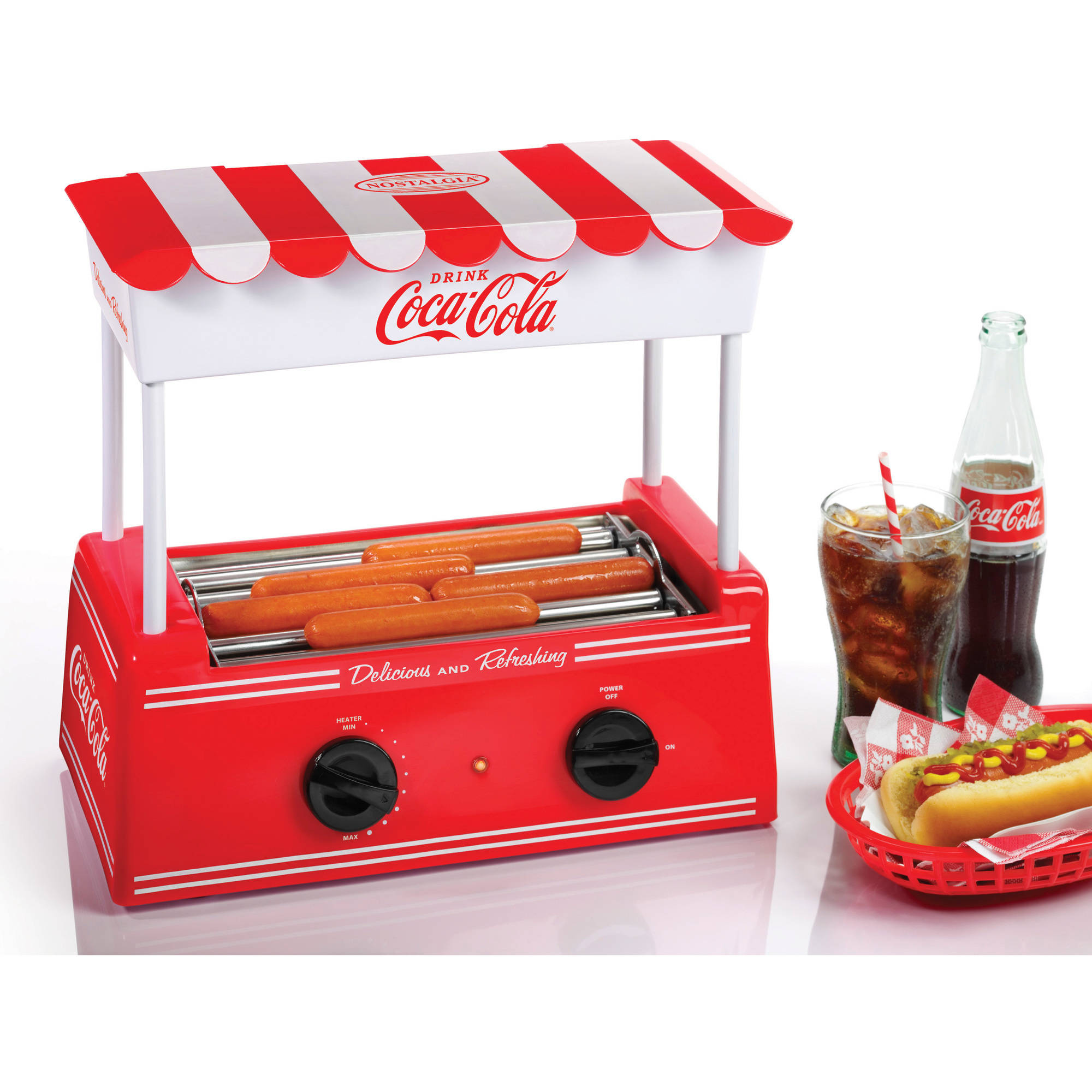 Nostalgia HDR565COKE Coca-Cola®Hot Dog Roller and Bun Warmer