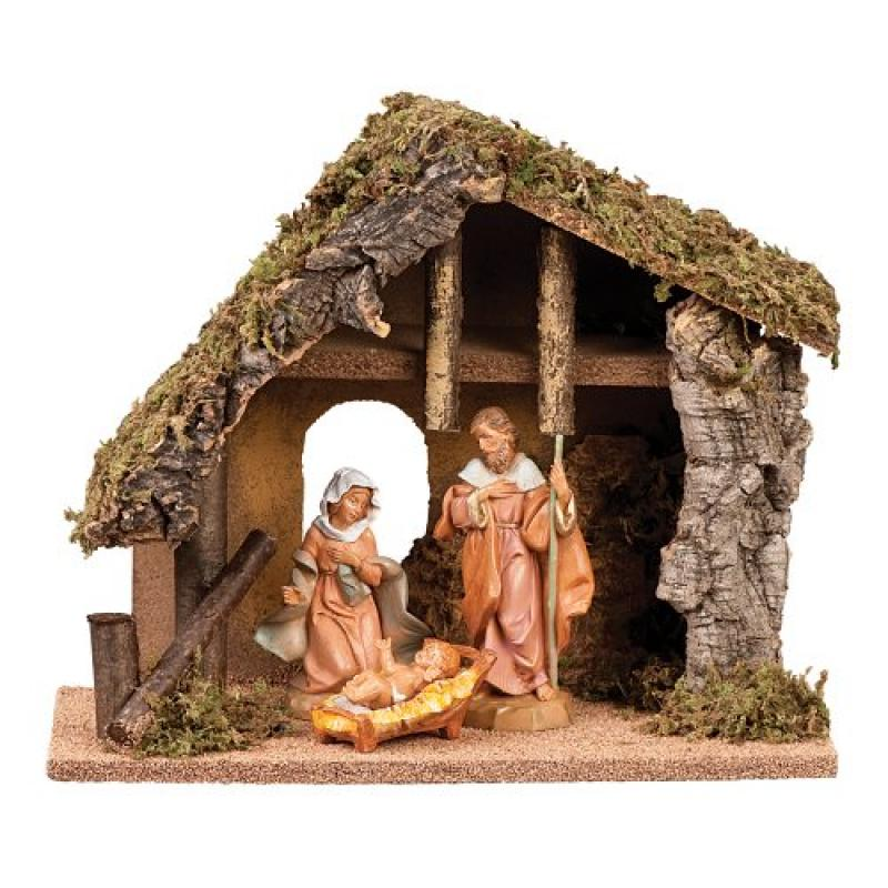 Fontanini 3-Piece 5-Inch Nativity with 9-1/2-Inch Italian Stable