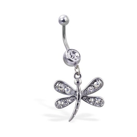 Navel Ring With Dangling Jeweled Dragonfly