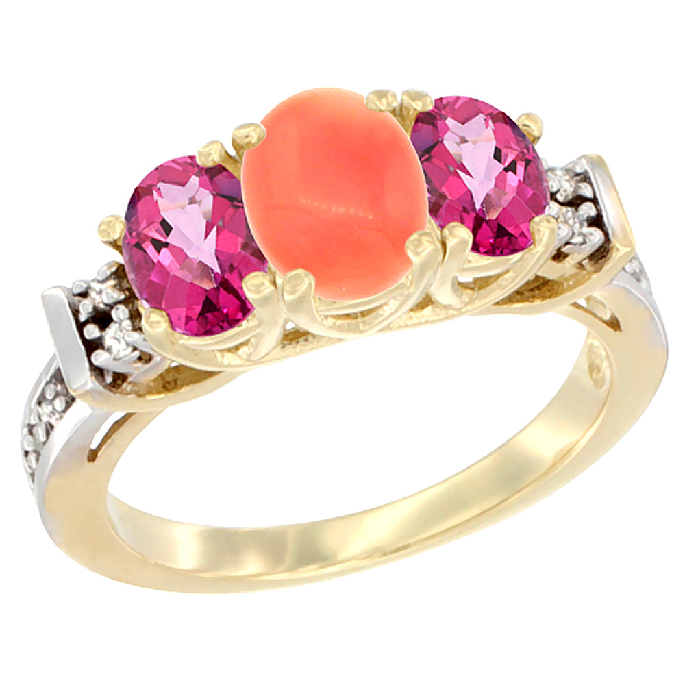 14K Yellow Gold Natural Coral & Pink Topaz Ring 3-Stone Oval Diamond Accent by WorldJewels