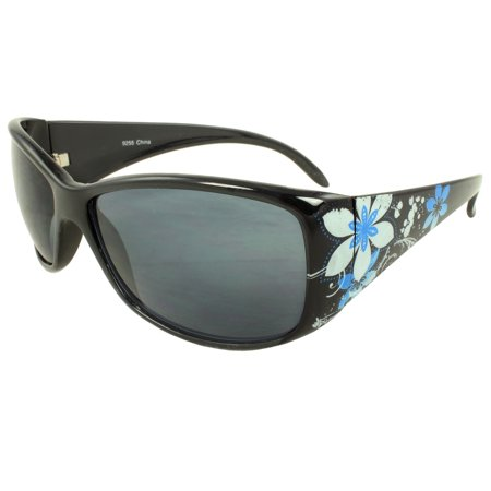 MLC Eyewear Floral Wrap Fashion Sunglasses in Black blue