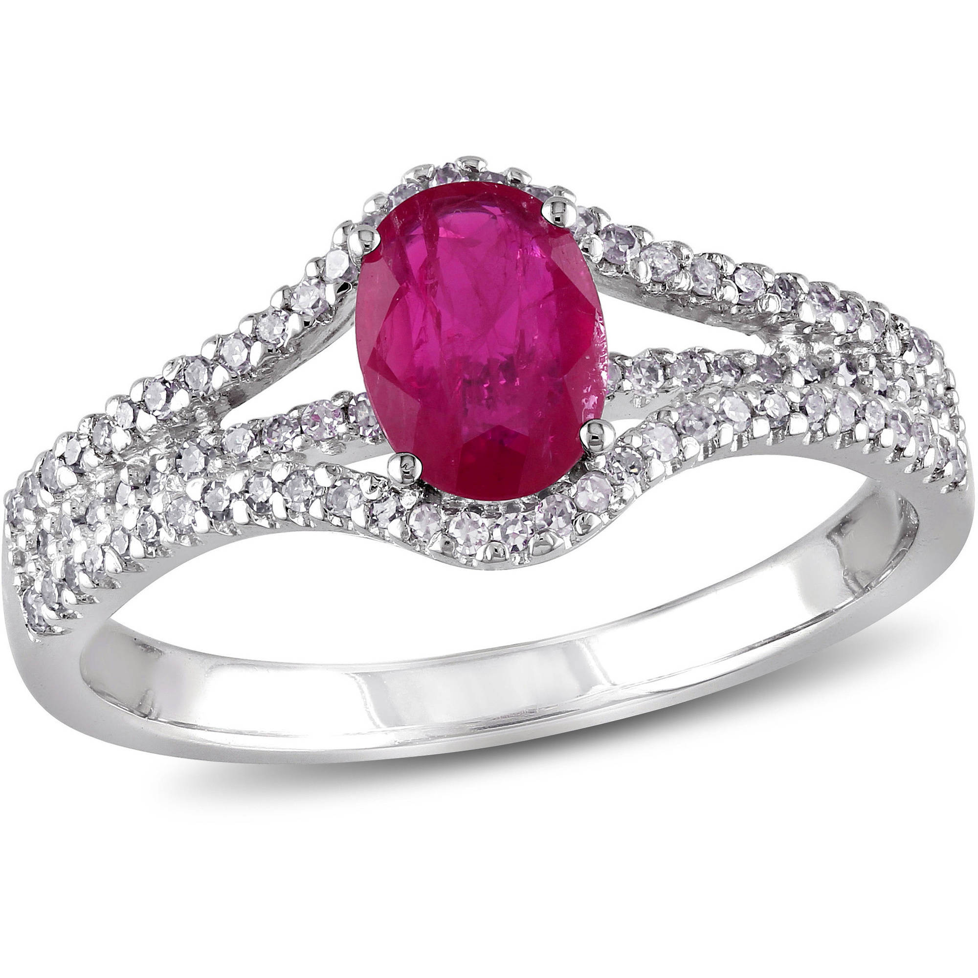 1 Carat T.G.W. Ruby and 1 4 Carat T.W. Diamond 10kt White Gold Three-Row Engagement Ring by Generic