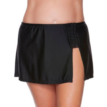 Catalina Women's Plus-Size Skirted Swimsuit Bottom With Braid Detail