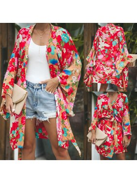 Women's Vintage Loose Blouse Summer Boho Floral Coat Shawl Kimono Cardigan Tops Red Size S