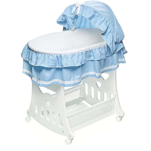 Badger Basket - Portable Bassinet with Toy Box Base and Blue Bedding