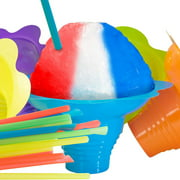 Super Cute Flower Cups and Spoon Straws Combo 50Pk. Colorful, Leak Proof Small Bowls are Perfect Snow Cone Supply for Kids Birthday Party or Summer Cookout. Great for Shaved Ice, Snacks or Ice Cream