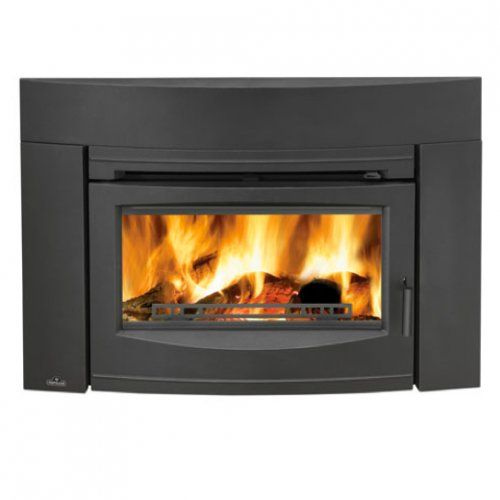 Wood Burning Contemporary Front Fireplace Insert - Black