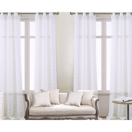 Olivia Gray Colorado Clipped Doily 76 x 84 in. Grommet Curtain Panel Pairs in White (Set of 4) ()