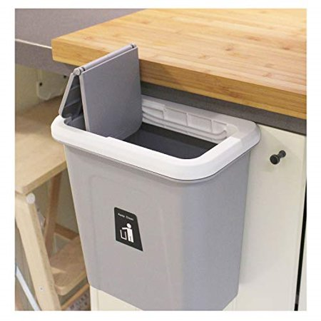 kary chef Hanging Trash Can,Small Cabinet Kitchen Trash Can, Garbage Can  for Kitchen Cupboard with Automatic Return Lid,Grey