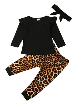 3pcs Toddler Kids Baby Girls Clothes T-shirt Tops+Leopard Pants Leggings Outfit
