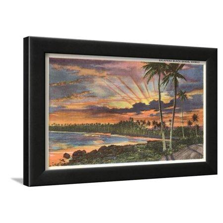 Totem 12' Brown Island Decor - Sunset, Kalapana Black Sands, Hawaii Framed Print Wall Art