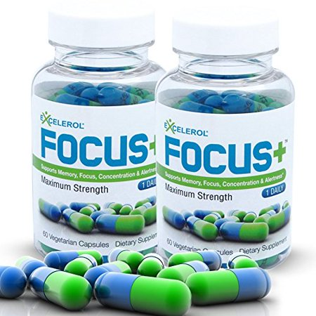 FOCUS+ Brain Supplement - 120 Caps - Powerful Mental Clarity Booster - Supports Focus, Concentration & Alertness - Maximum Strength Brain Vitamin - 120 Vegetarian (Best Brain Booster Vitamins)