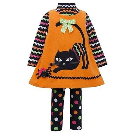 Bonnie Jean Halloween Girls Orange CAT Applique Fleece Jumper Leggings  - Bonnie Jean Halloween 8