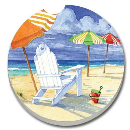 - CounterArt Absorbent Stone Beach Umbrellas Car Coaster (Set of 2)