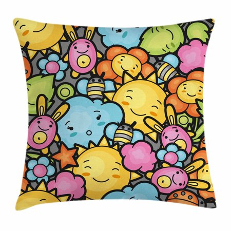 Nursery Throw Pillow Cushion Cover Cute Cartoon Characters Hy Sun Bunnies Trees Bugs Clouds Bees