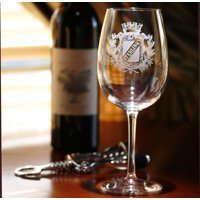 Personalized with name on stock crest wine glass (1pc)