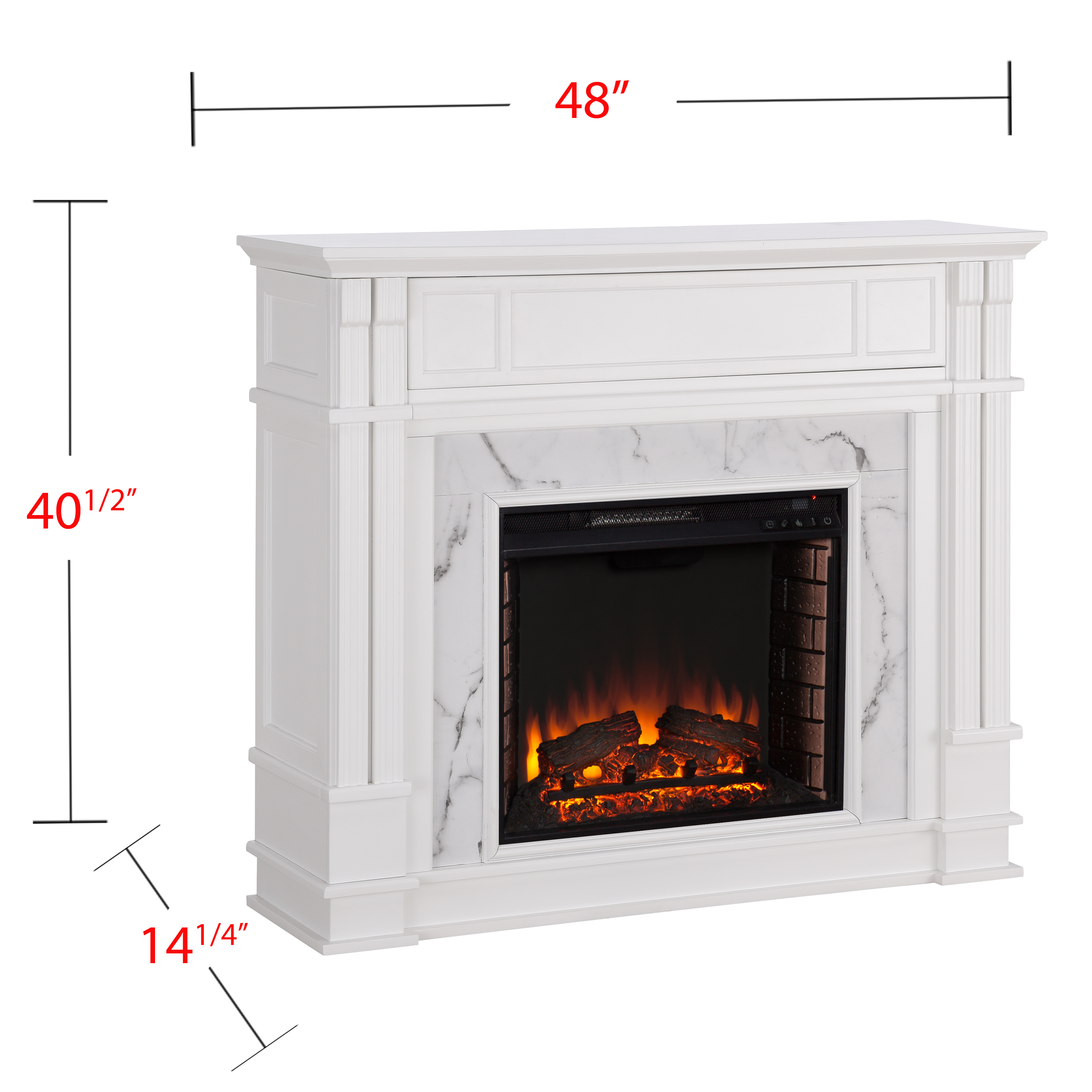 Perifyre Faux Cararra Marble Electric Media Fireplace White