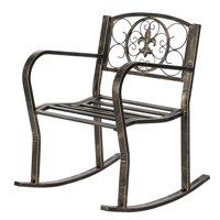 Zimtown Retro Black Fleur-de-lis Rocking Chair for Garden Patio Yard