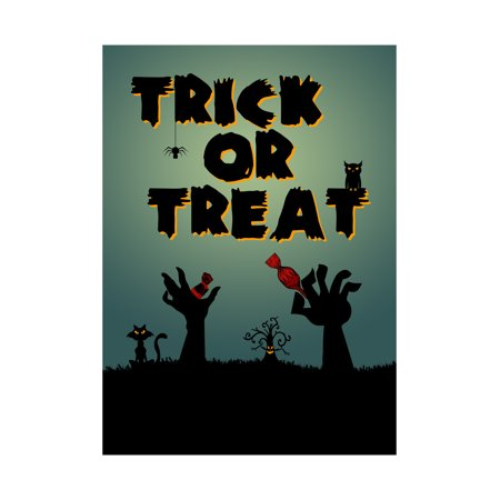 Trick Or Treat Print Dark Night Hands Grabbing Candy Out Of The Ground Picture Spider Cat Owl Tree Scary Halloween Sea