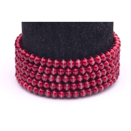 Red Silver Foiled Glass Pearls 4mm Round Sold per pkg of