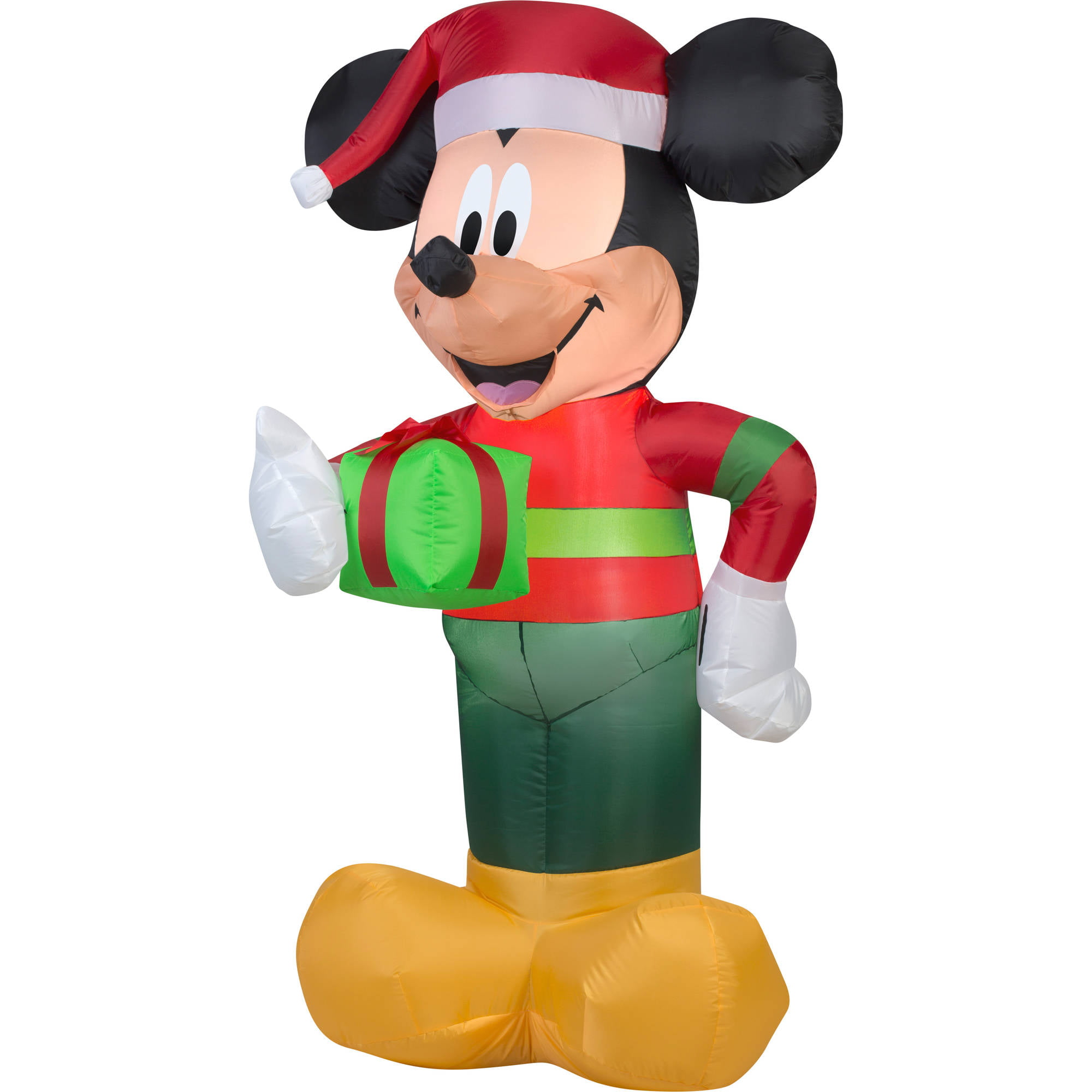 gemmy airblown christmas inflatables disney mickey with present 5 walmartcom - Disney Inflatable Christmas Decorations