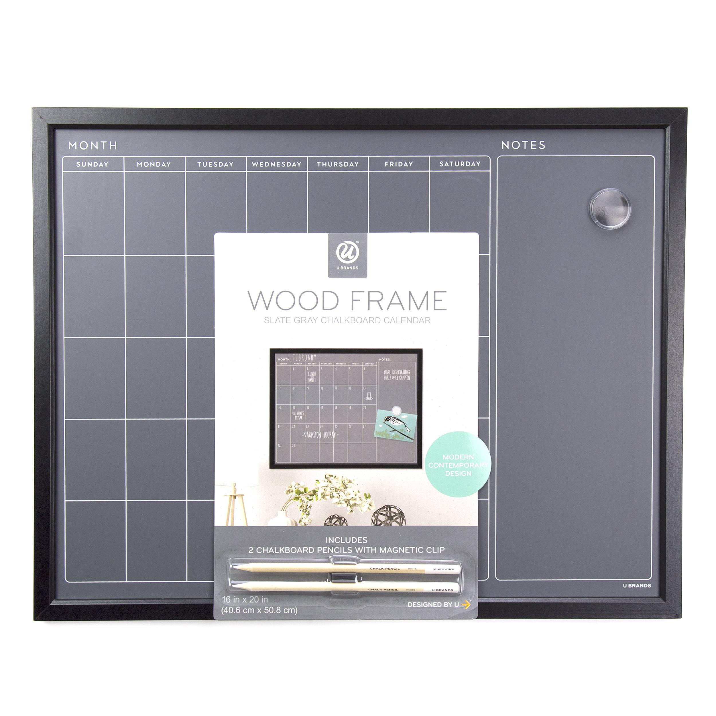 U Brands Monthly Calendar Chalkboard 20 X 16 Inches Black Mdf