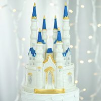 BalsaCircle 8.5-Inch tall White Blue Princess Castle Cake Topper Kids Birthday Wedding Party Event Centerpiece Decorations Supplies
