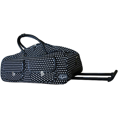 CGull Canvas Rolling Tote For Cricut Expression, Black/White Polka Dot