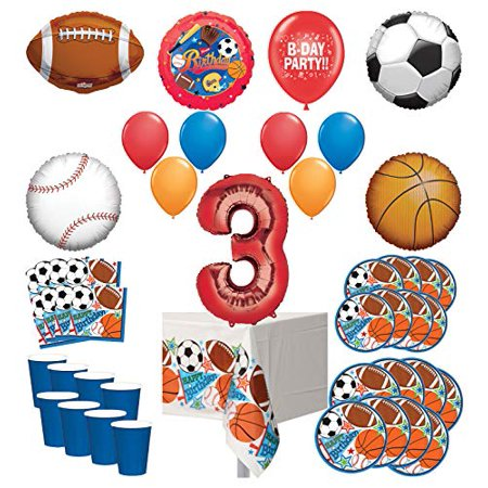 Mayflower Products Sports Theme 3rd Birthday Party Supplies 8 Guest Entertainment kit and Balloon Bouquet Decorations - Red Number 3](Car Themed Birthday Decorations)