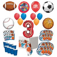 Mayflower Products Sports Theme 3rd Birthday Party Supplies 8 Guest Entertainment kit and Balloon Bouquet Decorations - Red Number 3