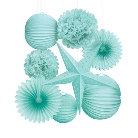 Paper Party Decorations Kit: Mint, 8 pieces