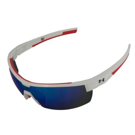 Under Armour UA Reign Shiny White Frame Red Rubber Blue Mirror Lens USA Edition - Red White Blue Sunglasses