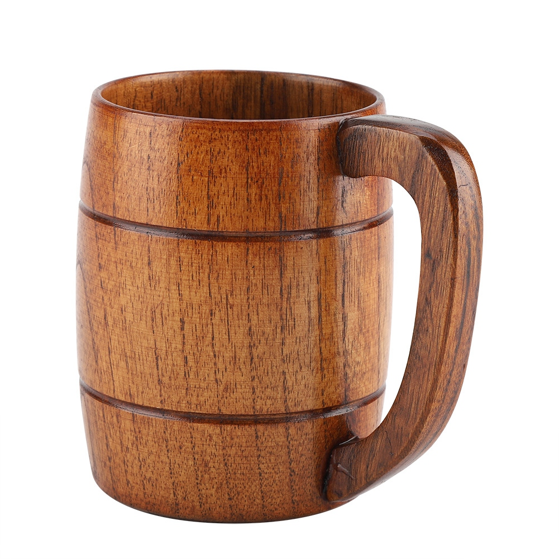 Natural Wooden Beer Cup Retro Big Capacity Tea Water Classic Wood Drinking Mug W