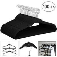 100 Pcs Cascading Non Slip Velvet Hangers Swivel Hook, Capacity:7 Lb,Black